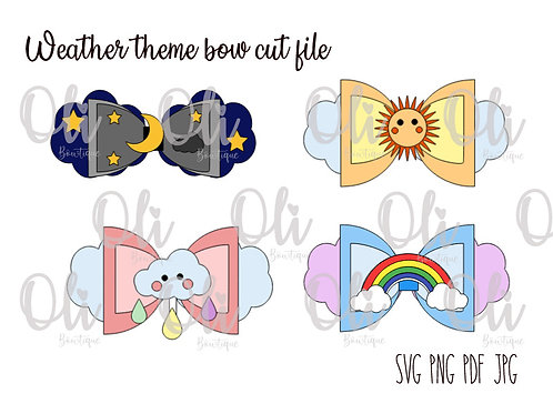 Weather theme bow SVG cut file