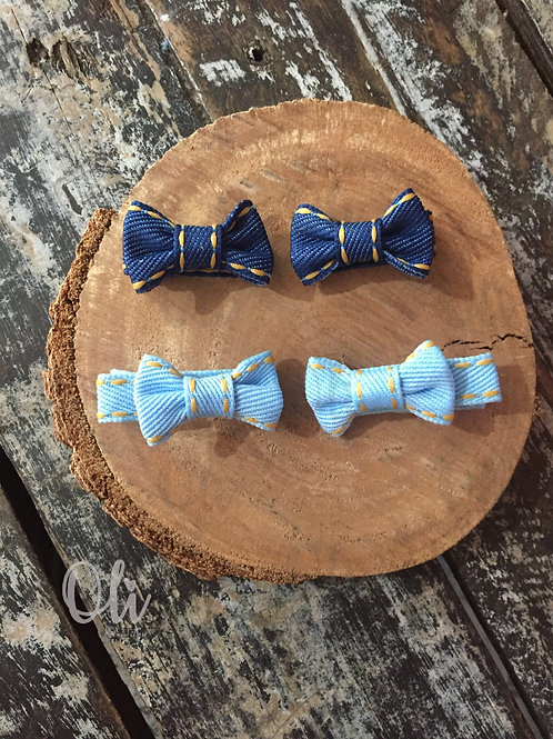 Pigtail denim Lia bow hair clips • Parzinho laço Lia jeans mini