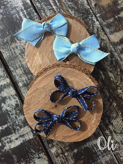 Denim pigtail bows • Parzinho laço jeans