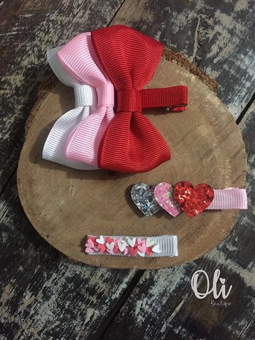 Heart hair clips set • Trio hair clip coração