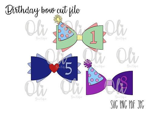 Birthday bow SVG cut file