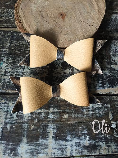 Leopard leatherette bow • Laço de lonita onça