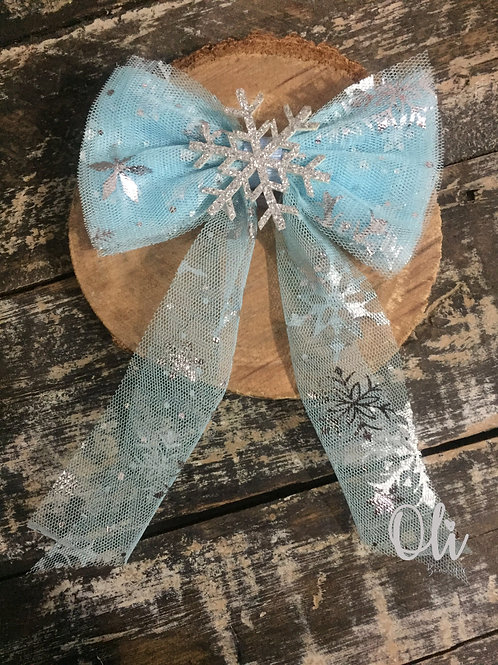 Frozen tulle bow • Laço Frozen em tule