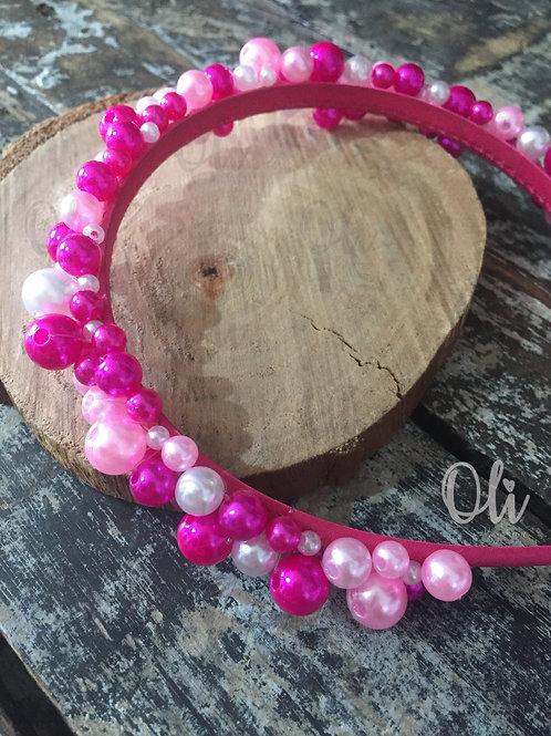 Fuchsia and pink pearl Alice band • Tiara pérola fúcsia e rosa