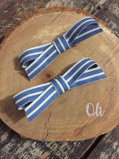 Printed denim Emma pigtail bow • Parzinho laço Emma jeans estampado