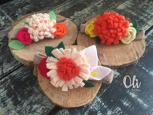 Felt flowers headband • Faixinha flores de feltro