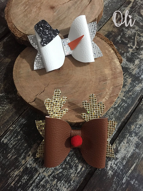 Christmas bow (Snowman & Reindeer) • Laço Natal (Boneco de neve & Rena)