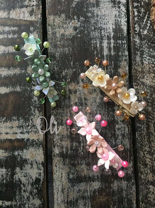 Flower hair clip • Hair clip de arranjo de flores