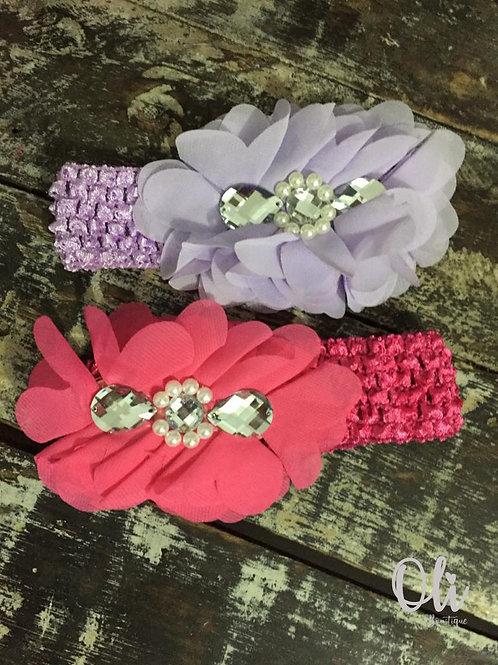 Chiffon flower headband • Tiara elástico com flor de chiffon
