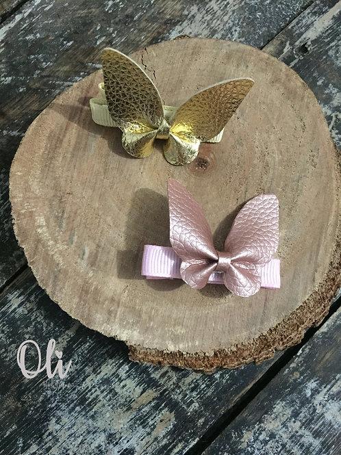 Leatherette butterfly hair clip • Hair clip de borboleta lonita