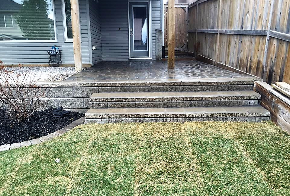 Brick steps with new sod