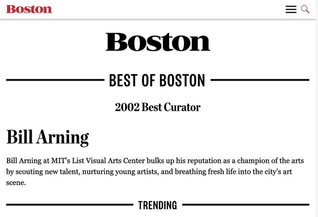 Boston Magazine: 2002 Best Curator