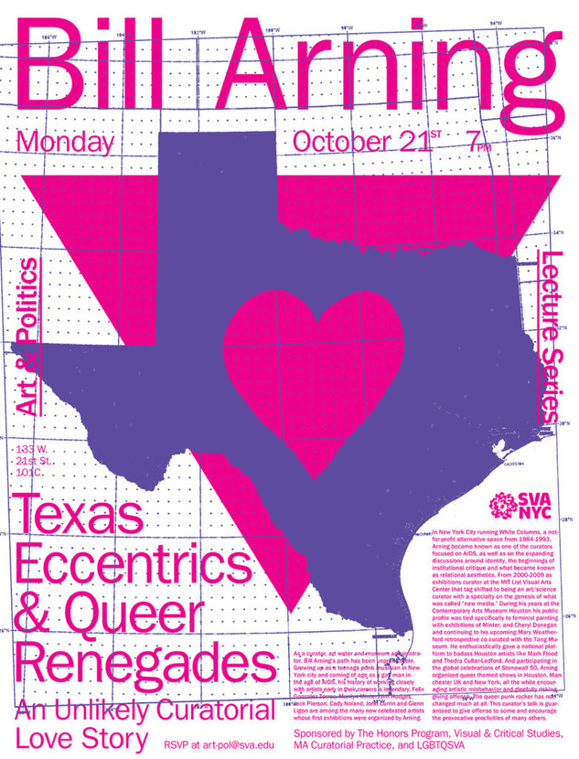 "SVA NYC: VCS presents ""Bill Arning: Texas eccentrics and Queer renegades – an unlikely curatorial love story"""