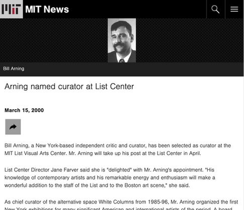 MIT News: Arning named curator at List Center