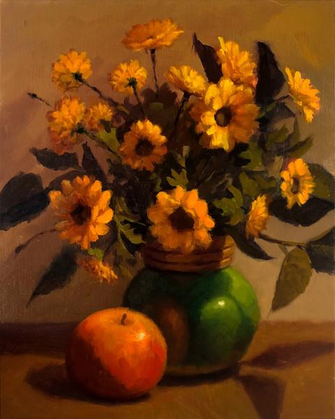 Maçã e Vaso de Flores