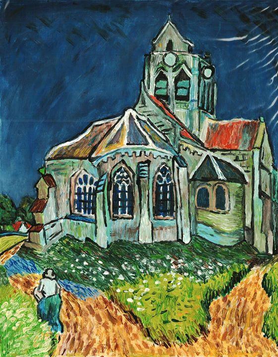 Facebook - Estudo de obra de Van Gogh, realizado em 2004.jpg Guache sobre papel.