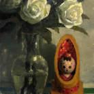 Kokeshi e Flores Brancas