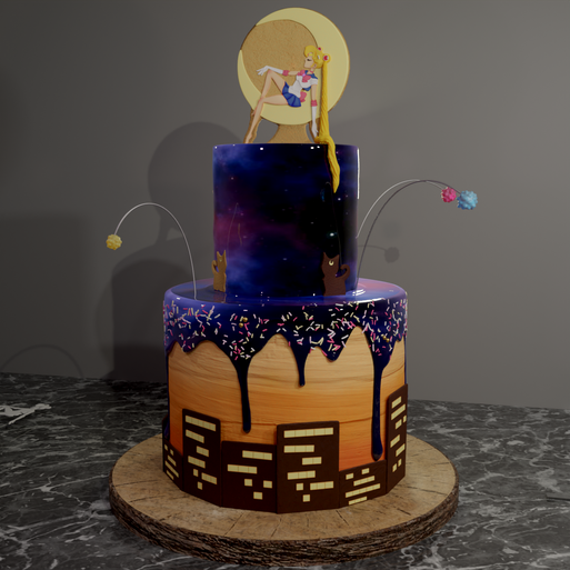 3D model of a cake