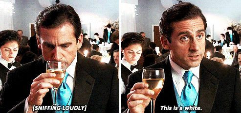 """Michael Scott from the office smelling a glass of white wine and then stating """"This is a white."""""""