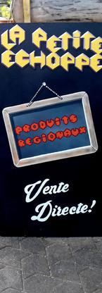 """Acrylique sur panneau de bois, signalétique pour """"La petite Echoppe"""" boutique de produit artisanaux a la Miellerie des Coulmes, Izeron (38), 2018"""