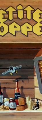 """Acrylique sur panneau de bois, enseigne pour """"La petite Echoppe"""" boutique de produit artisanaux a la Miellerie des Coulmes, Izeron (38), 2018"""