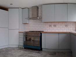 new fitting kitchen, new marble tiles floor in travertine, painting and decorating, by italian home renovation london