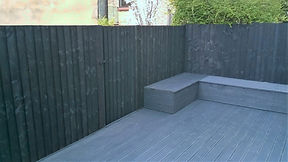 A simple idea for renewing an abandoned backyard. A new fence, decking and chests to better enjoy your outdoor space. By Italian home renovation London. property Refurbishment, landscaping renovation.