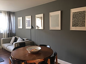 How to transform an anonymous white room in an trendy open space simply by painting the walls in two shades of gray. Refurbishment by italian home renovation london