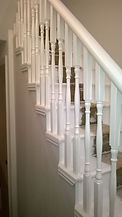 Here an old staircase has been refurbished; The decorations on the ceiling, the skirting boards and door frames were in poor condition. We repainted the walls a light gray shade, the stairs with a brilliant white which along with the decorations have made the very fine and elegant environment. Italian home renovation London. London property Refurbishment