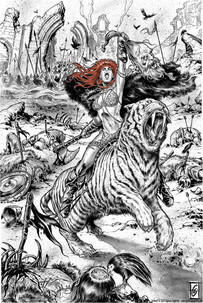 Red Sonja in the battle