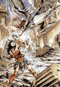 Wonder Woman vs Silver Swan & background