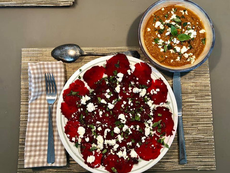 Tomato Gazpacho and Beet Carpaccio