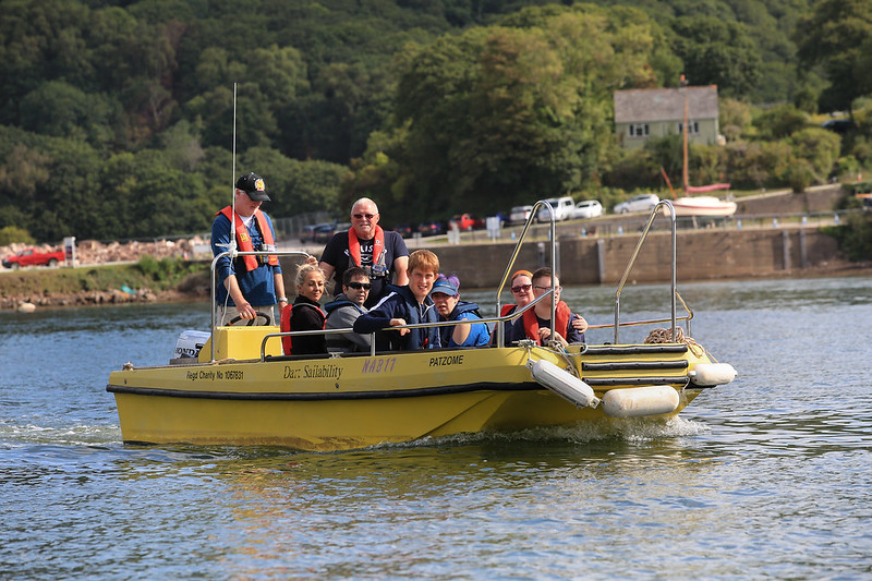 Dart Sailability on the river with disabled members on board the NAB boat