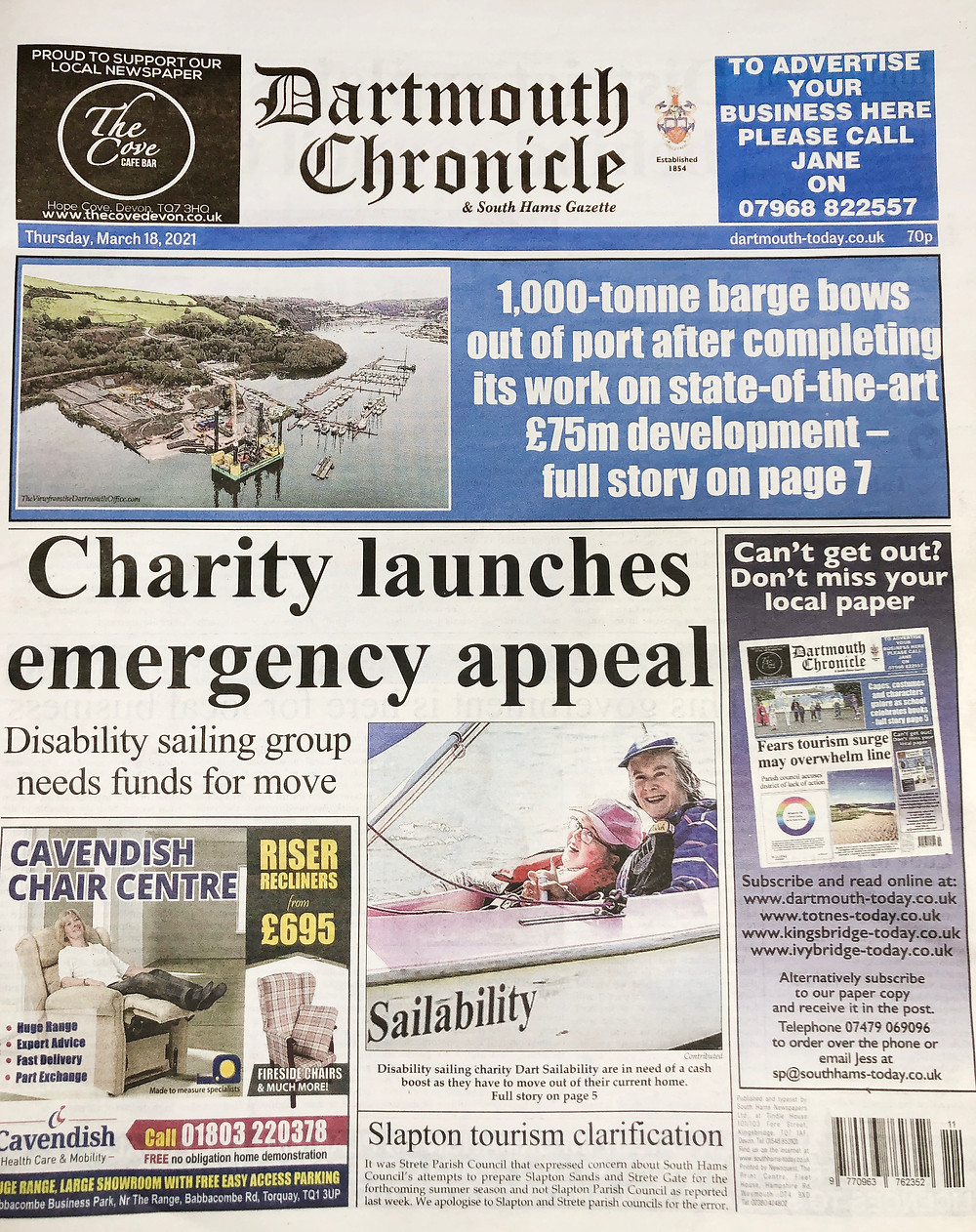 Copy of the Dartmouth Chronicle front page, re Dart Sailability launching appeal