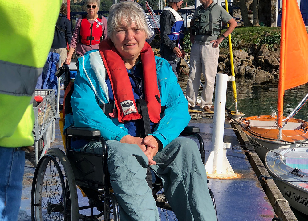 Disabled sailor Anne Blood sat on pontoon waiting to sail