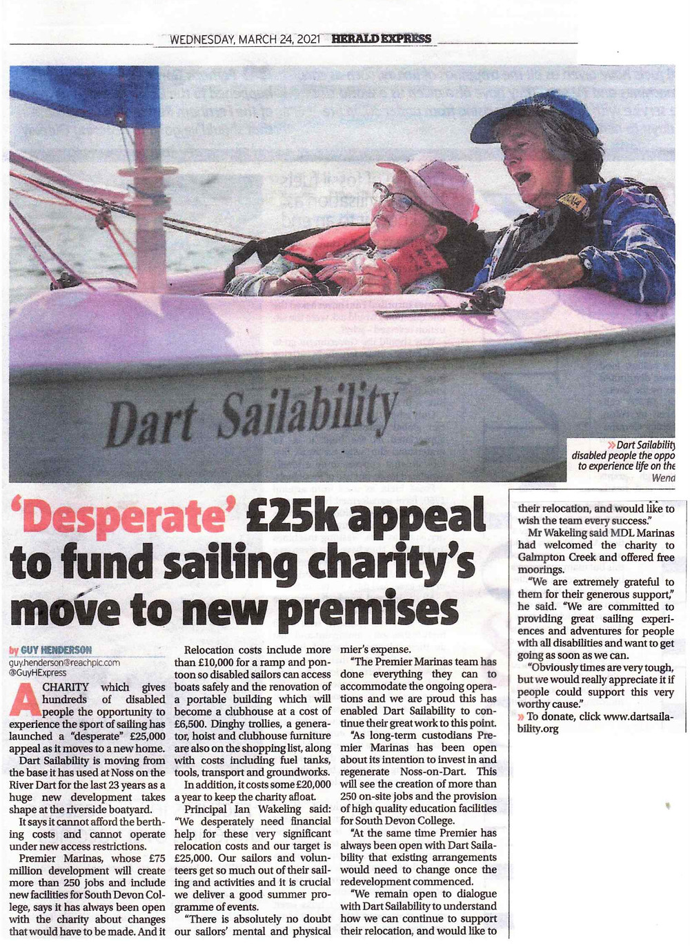 Herald express newspaper clipping about our relocation appeal
