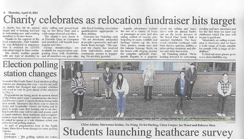 Dartmouth Chronicle re Dart Sailability reaching fundraising target