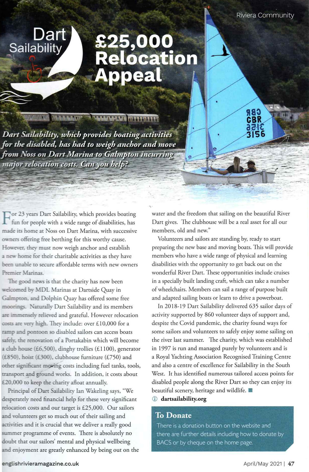 Riviera Community Magazine clipping about our relocation appeal
