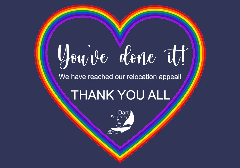 """Image with rainbow heart saying """"You've done it!, We have reached our relocation appeal. Thank you all"""