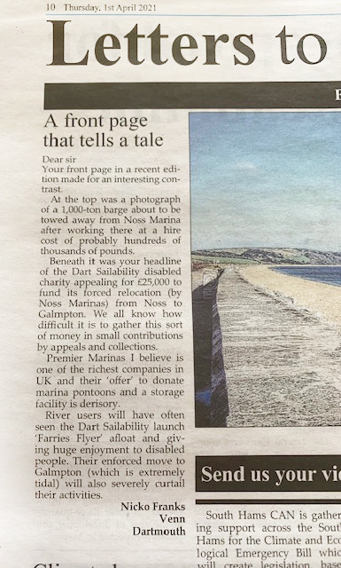 Dartmouth Chronicle letters to the editor about Dart Sailability relocation appeal