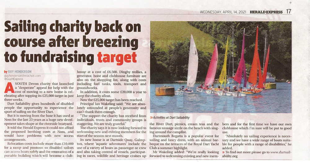 Herald Express article about our relocation appeal