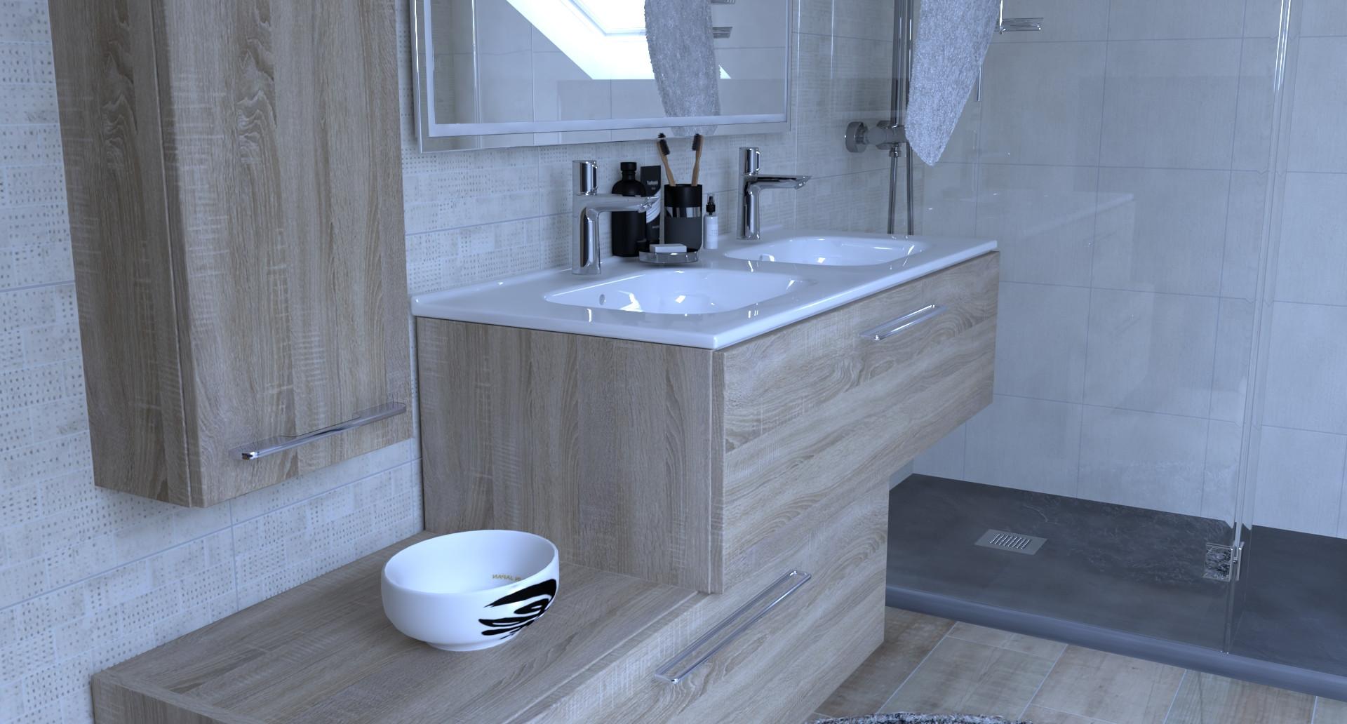 Salle de bain vue 3D photoréaliste
