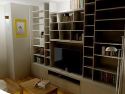 Perspective 3D petit salon de lecture