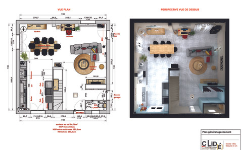 Plan general agencement avec perspective 3D