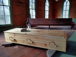 Eno River casket in abandoned church