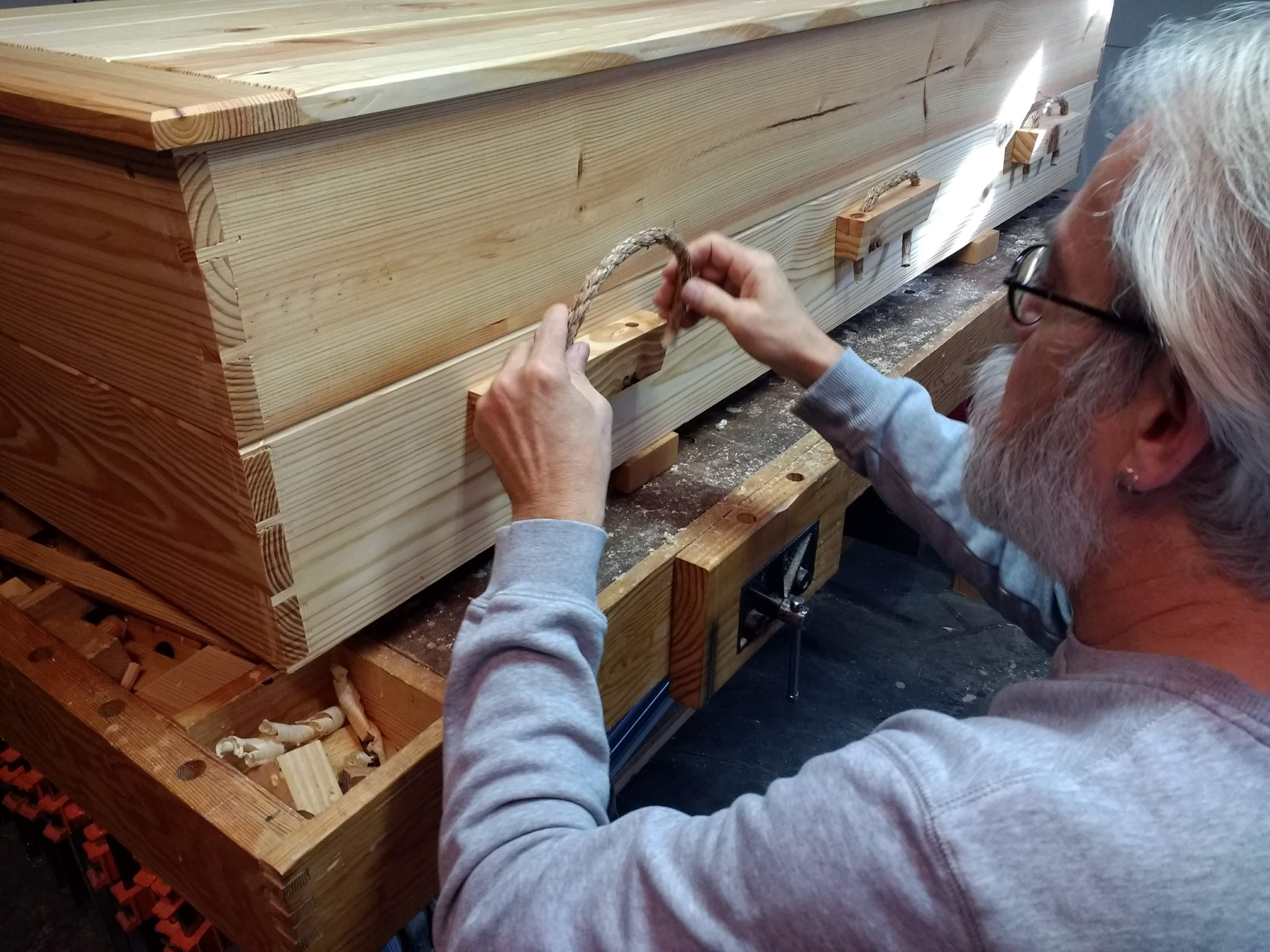 John installing sisal handles