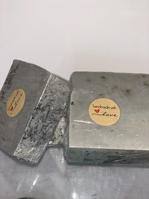 Charcoal infused exfoliating soap bar