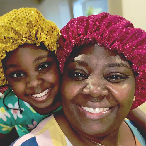 Sequined hair bonnets