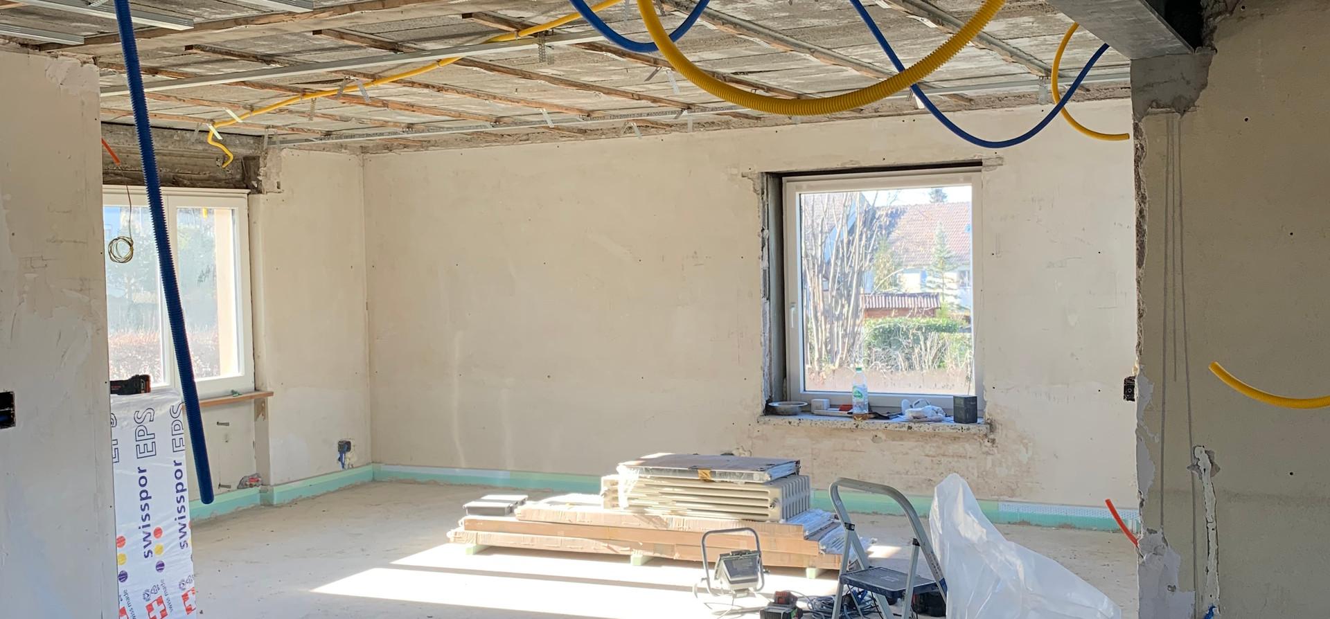 Wohnzimmer Umbaustand Februar 2020