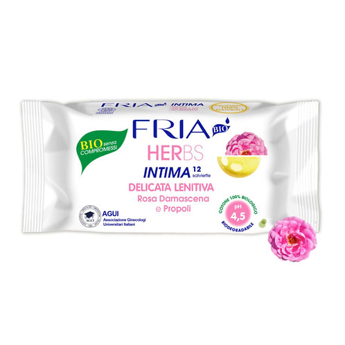 FRIA BIO HERbs - Intimate wipes - Delicate Soothing - 4.5 ph (12 wipes)